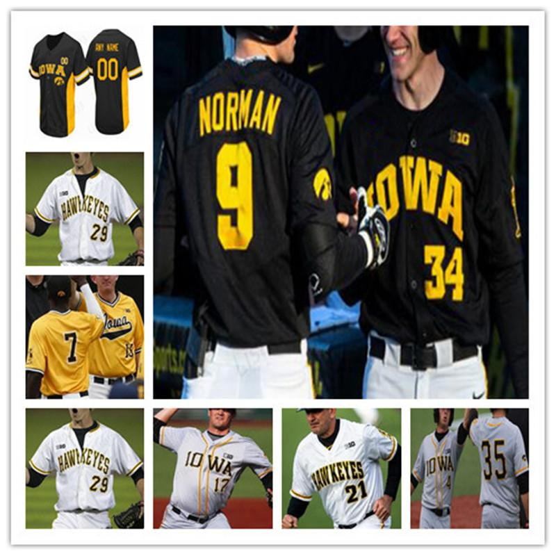 Kolej Beyzbol Dikişli Jersey Iowa Hawkeyes Black Mens Womens Gençlik Herhangi Bir Adı ve NMBER Mix Sipariş