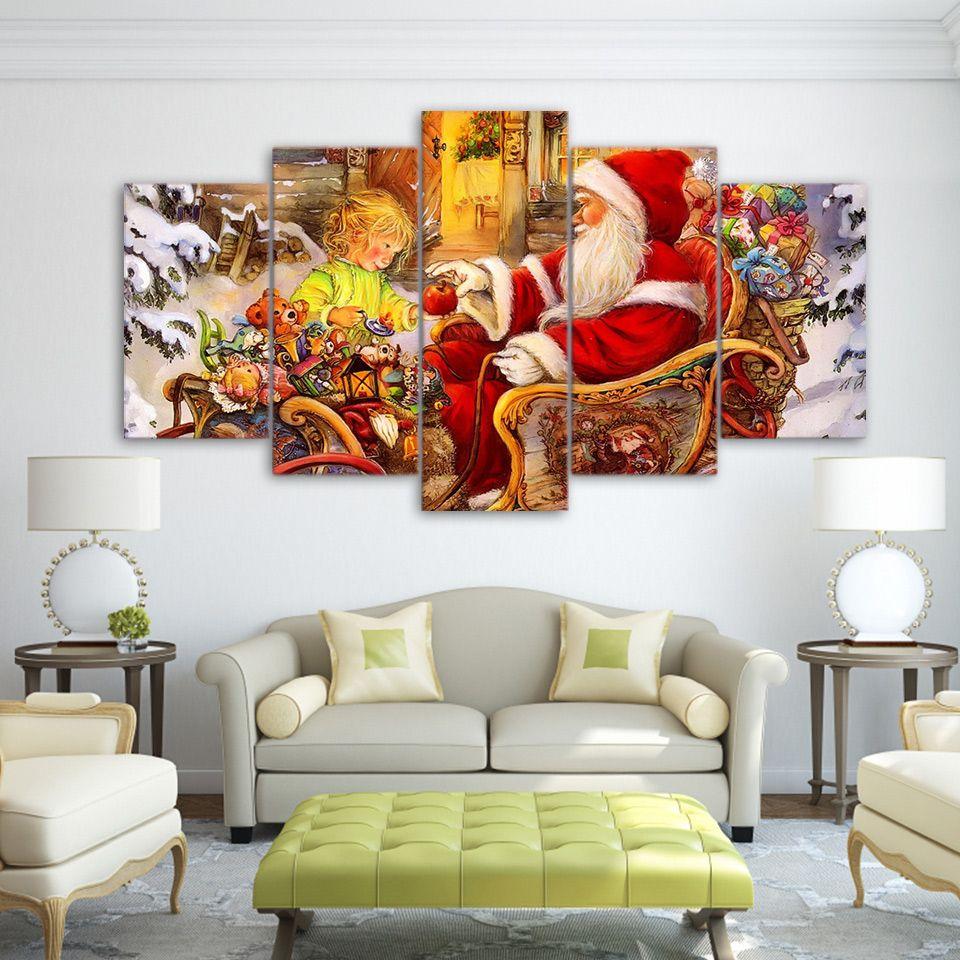 5 pièces Toile Art HD Imprimer Père Noël Peinture de Noël Peintures d'affiche pour mur du salon Livraison gratuite