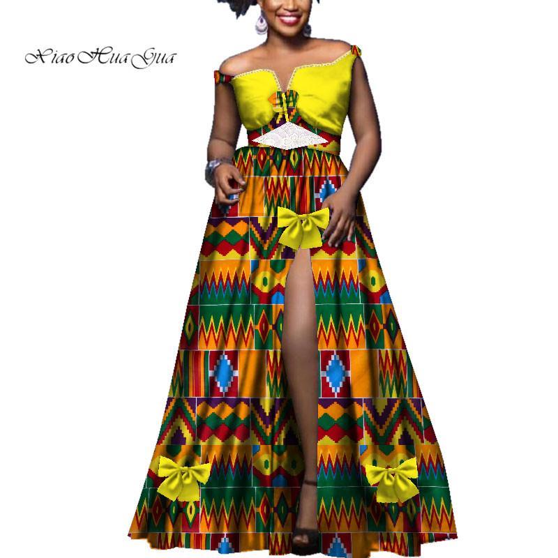 Vestito lungo sexy dal collo di Slash Fashion con abiti da cerimonia nuziale eleganti in pizzo Plus Size Abbigliamento africano Vestito africano da donna WY3539