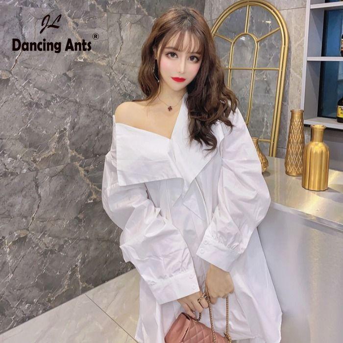 Donna Shirt Dress V-Neck maniche lunghe Lace Up Vestito allentato Trend 2020 Estate Nuovo Femminile Coreano abiti eleganti Solid asimmetriche