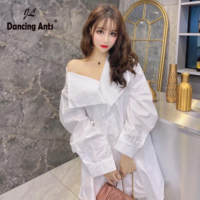 Mulher Vestido camisa V-Neck manga comprida Lace Up solto vestido Tendência 2020 Verão Novo Feminino coreano Vestidos sólidos assimétricos elegantes