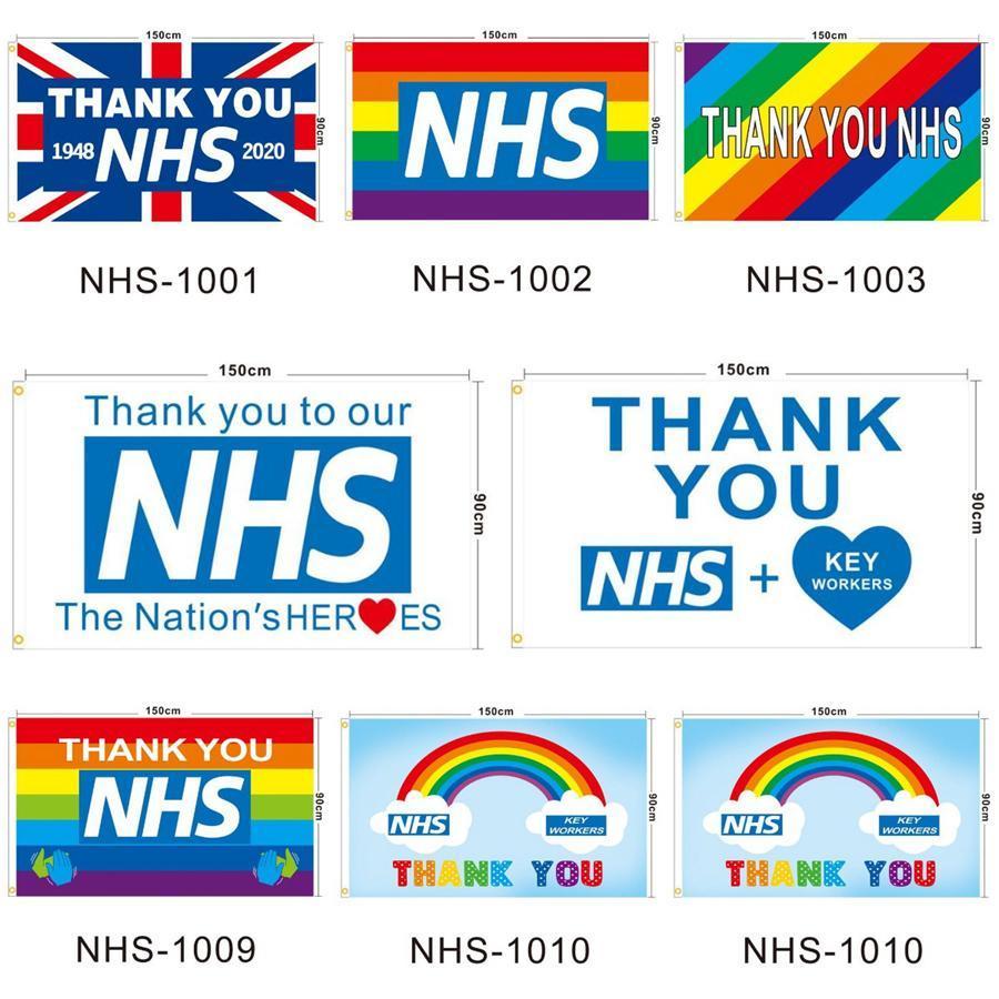 Grazie NHS Flag UK Il Regno Unito Arcobaleno 2020 lettera stampata 90 * 150cm Poliestere casa Banner Bandiere LJJO7928