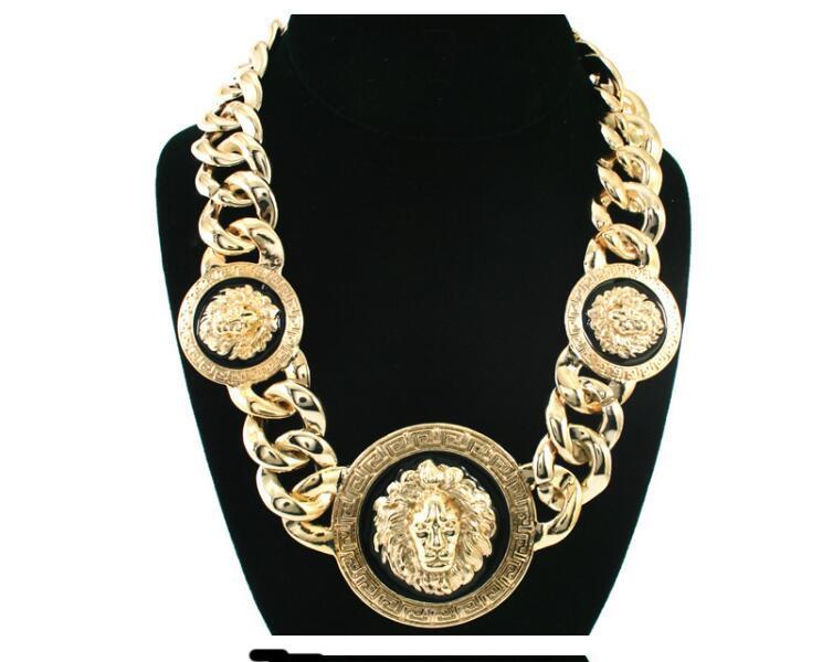 Дизайнер роскоши хип-хоп высокое качество сплава масло капает голова льва ожерелье ювелирные изделия мода личность преувеличение ключицы свитер цепи
