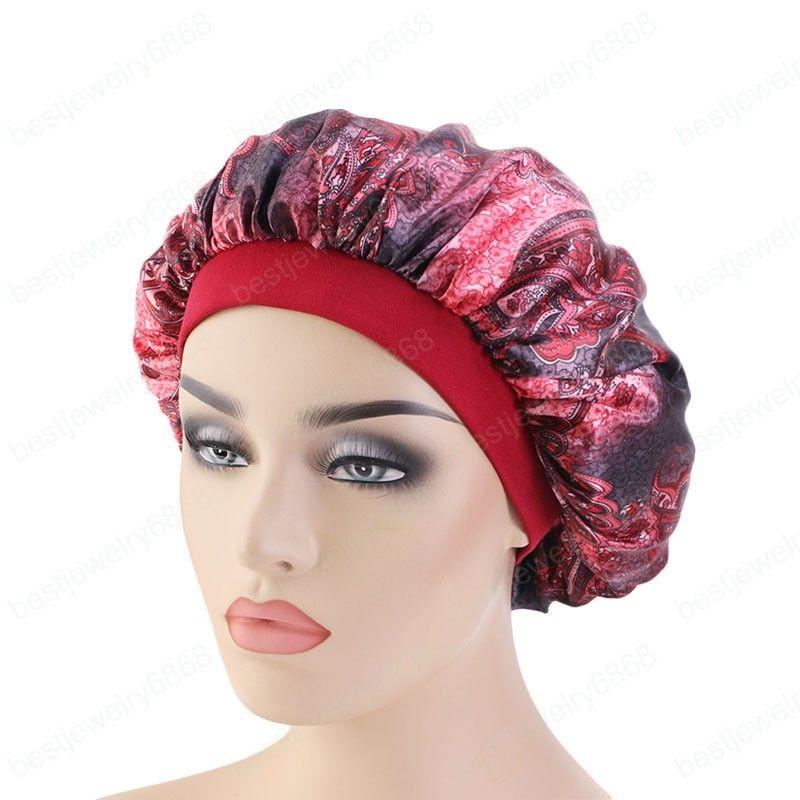 Novas mulheres padrão paisley cetim Bonnet Salon Bonnet Beanie noite chapéu para Cabelo Natural Curly Noite Cabelo sono Cap Tranças