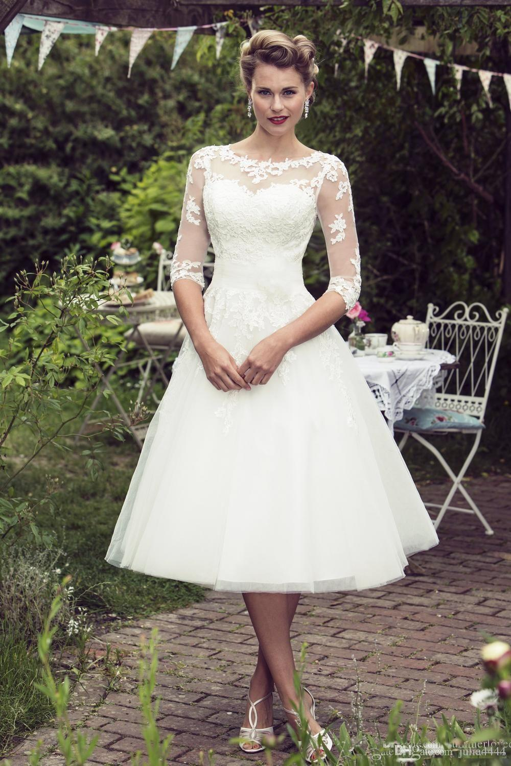 discount vintage 50's style short lace wedding dresses half sleeves tulle  lace applique tea length bridal wedding gowns with buttons country wedding