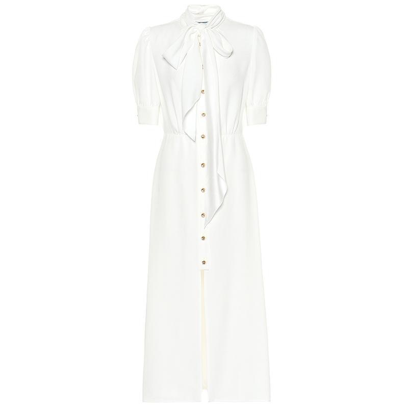 2019 осень Белый сплошной цвет ленты галстук лук кнопки середины икры Половина рукава шеи экипажа мода взлетно-посадочной полосы платья Vestidos 9N8YDY9D