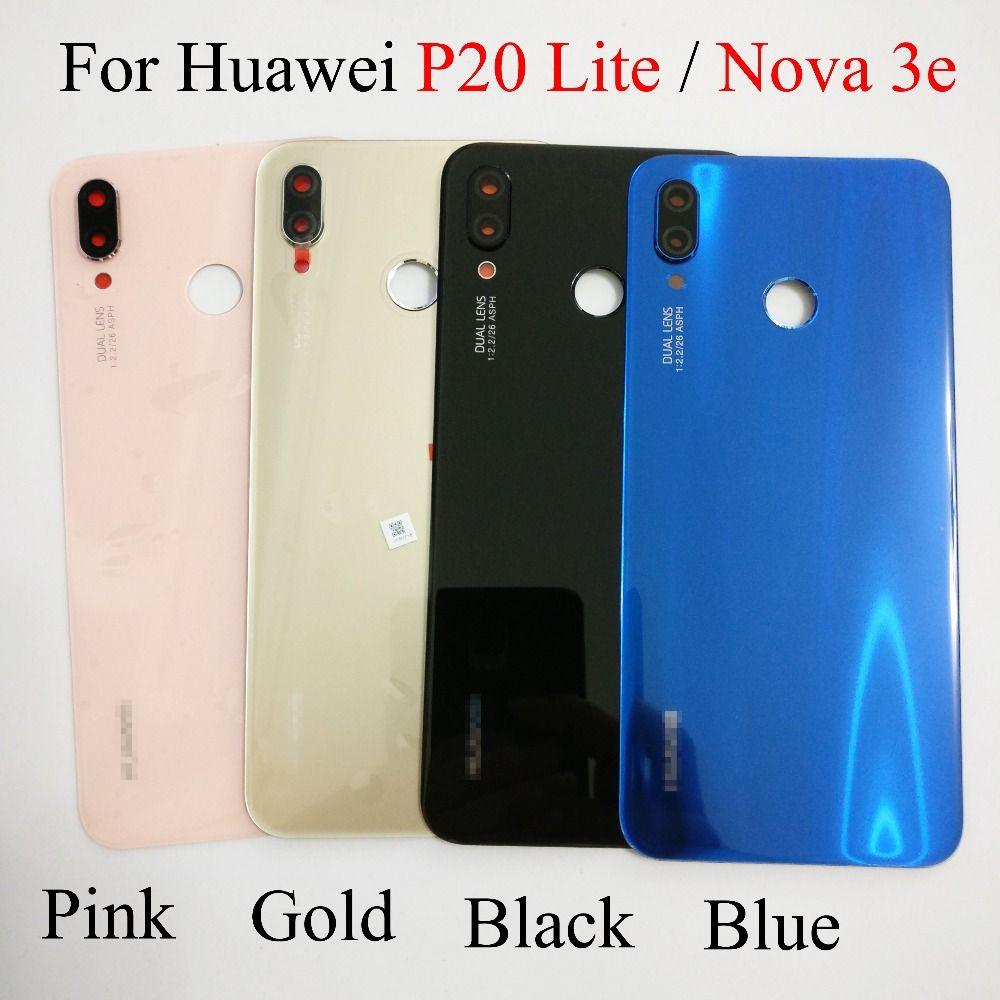 D'origine pour Huawei P20 Lite Remplacement En Verre Batterie Couverture Arrière Cas Pour Huawei Nova 3E Logement de La Batterie Couvercle Arrière 4 Couleurs