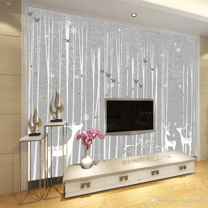 2m wide graffiti murals wallpaper elegant and rustic style hand-painted black and white woods elk birds abstract grey painting