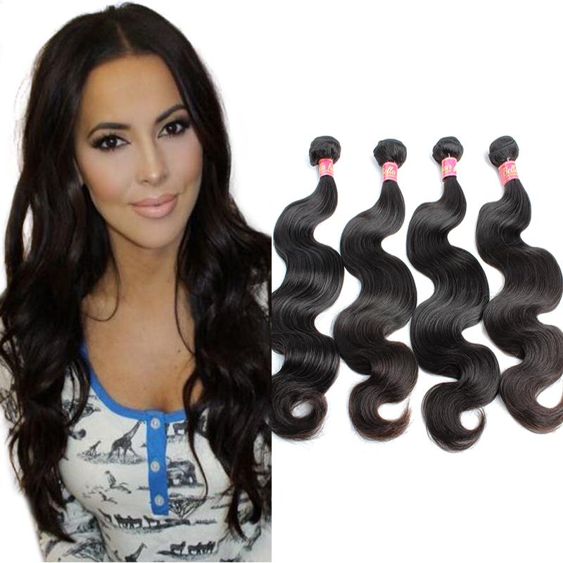 ベラヘアー(登録商標)ブラジルの体波よこつく波の人間の髪の毛を織る天然の黒い染め可能な拡張