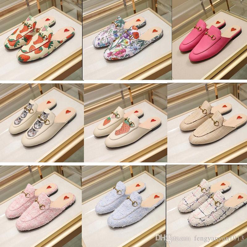 Zapatillas de diseñador de lujo para mujer Zapatillas de cuero Princetown Bling Flat Mules Zapatos casuales Mocasines Zapatillas de moda para mujer Verano
