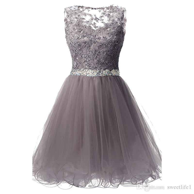 SD361 Grey Cheap Tulle Homecoming Dresses 2019 Crew Neck Lace Appliques Short Mini Beaded Crystal Formal Party Dresses Under 30$ In Stock