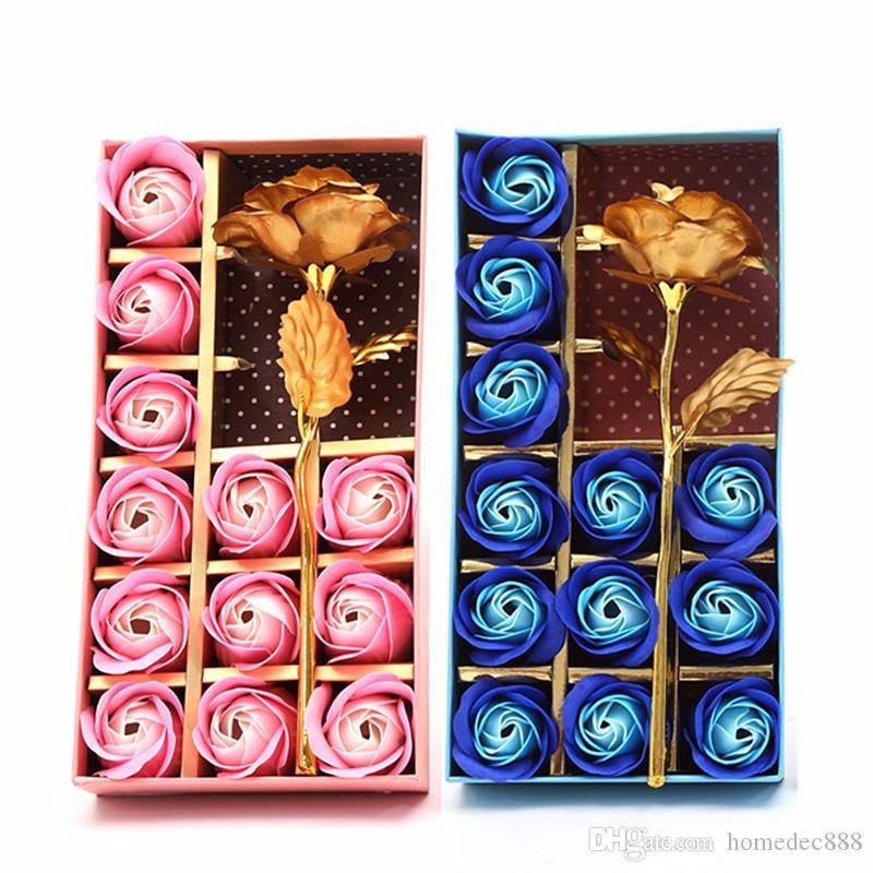 비누 꽃 어머니의 날 선물 상자 향기로운 목욕 바디 꽃잎 꽃 비누 꽃 골드 호일 인공 장식 장미 선물 12 PCS DH1276