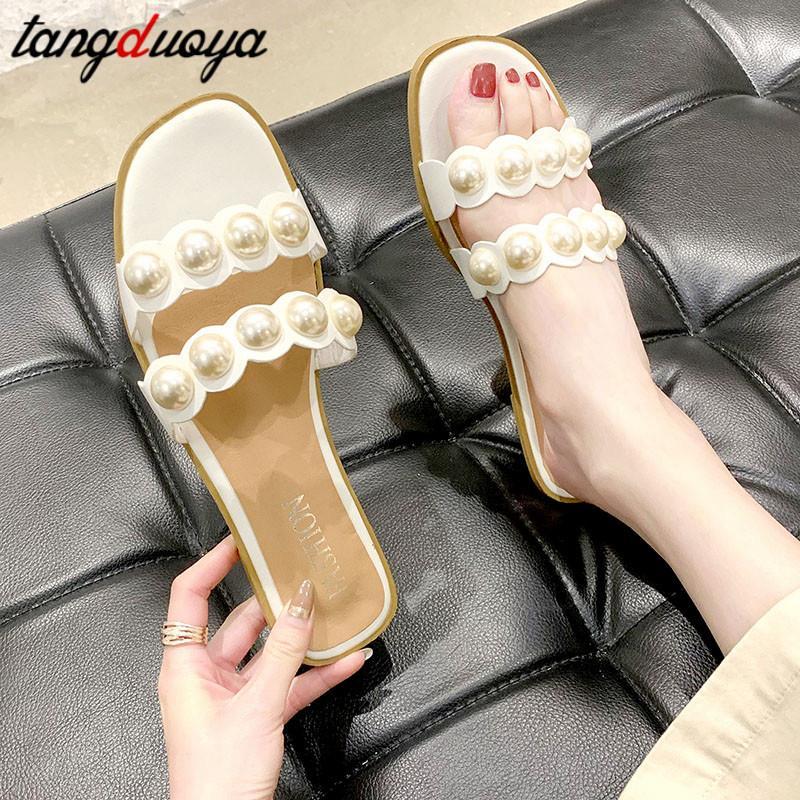 Pantofole donna Pearl Beach scarpe pistoni di estate 2020 sandali piani di modo calza sandali delle donne all'aperto Zapatos para Damas
