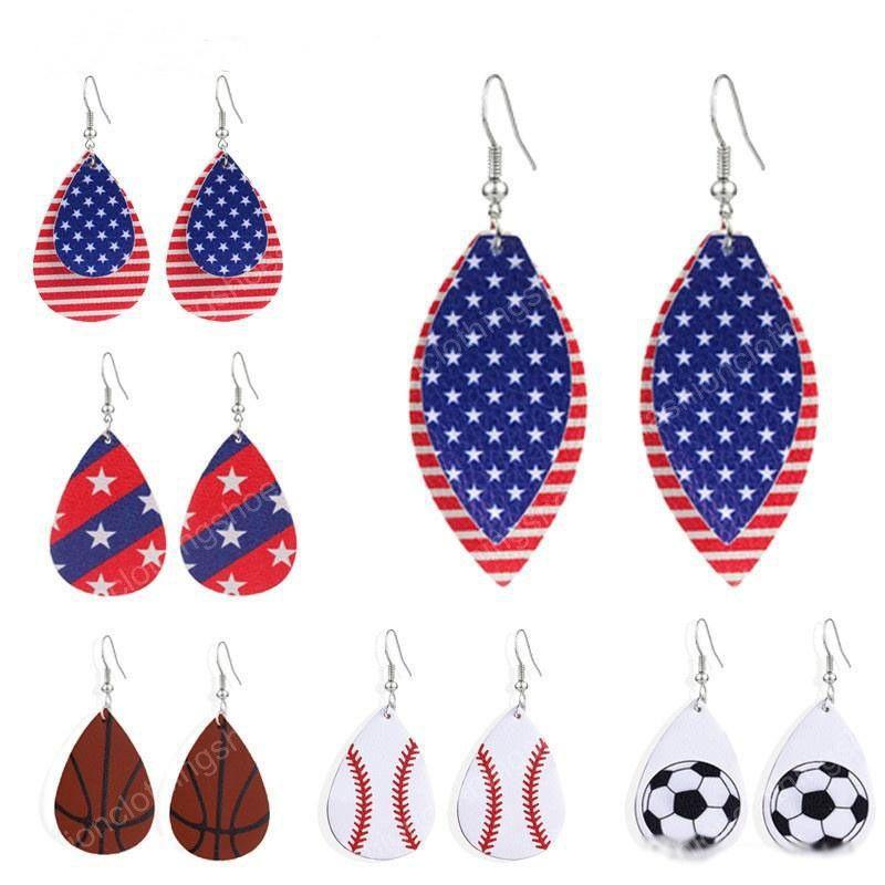 PU Female Girl earrings Women baseball football flag design earrings Girl Bohemia Ear Clip Accessories 14styles