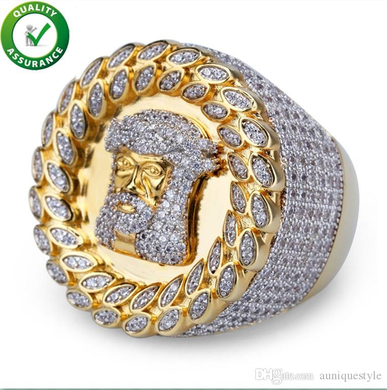 Hip Hop Mens Jewelry Rings Luxury Gold Plated Micro Paved Diamond CZ Pharaoh Round Rings Wide Wedding Finger Ring Crystal Bling Punk Vintage