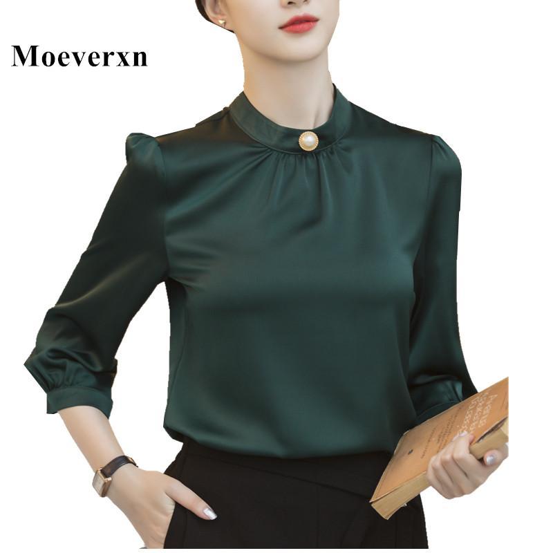 Fall Women Fashion Three Quarter Solid ColorT-Shirt Casual Tops GridNN Women Blouse