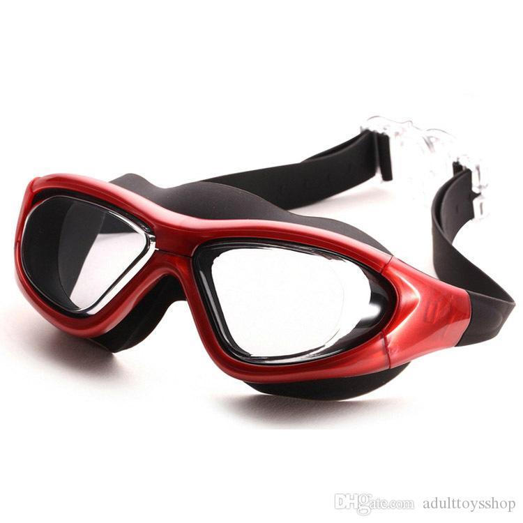 جديد المهنية مربع كبير ضوء نظارات السباحة المسطحة عالية الوضوح الأزياء مكافحة الضباب الرجال والنساء نظارات السباحة للماء الكبار أجمعين