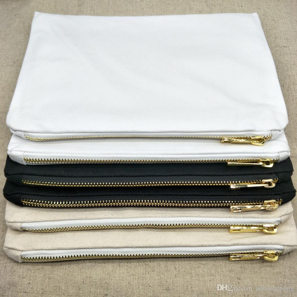 1pc 7x10in borsa di tela di cotone trucco bianco 12 oz con zip in metallo per DIY trousse stampa in bianco / bianco / canvas naturale con fodera in magazzino