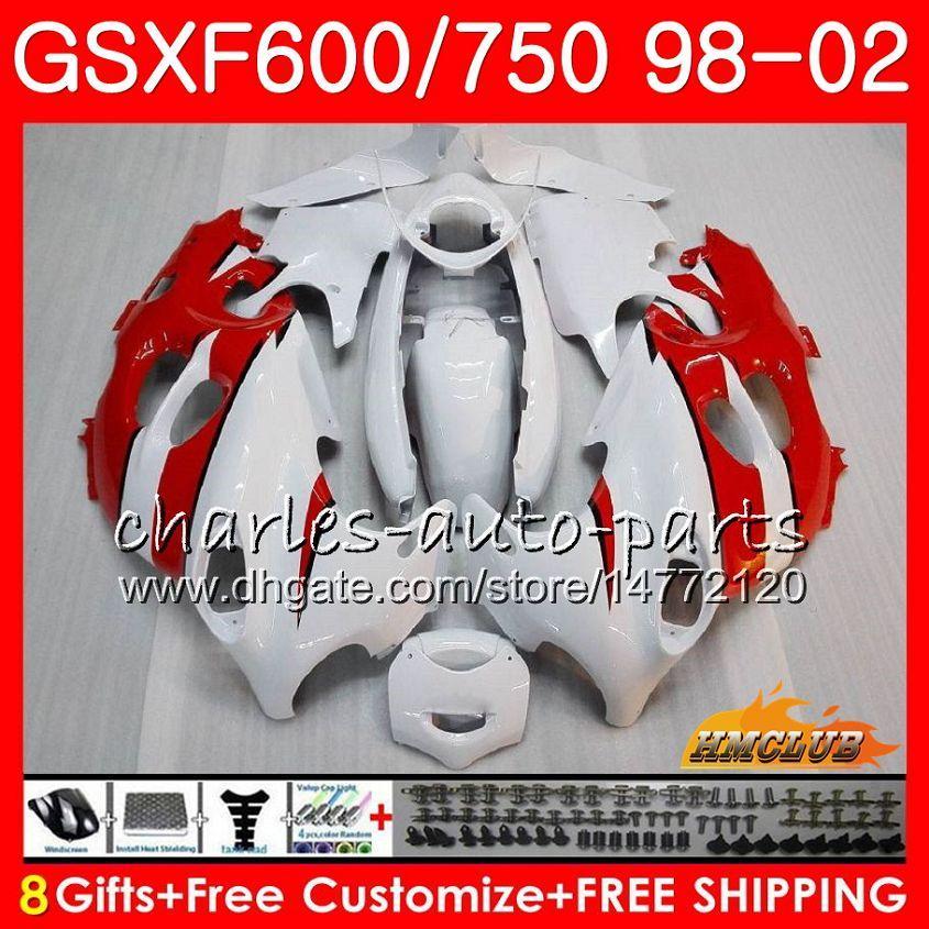 Körper für Suzuki Rot Weiß Katana GSXF 750 600 GSXF600 98 99 00 01 02 2HC.50 GSX750F GSX600F GSXF750 1998 1999 2000 2001 2002 Verkleidungsset