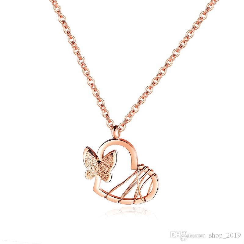 트렌디 한 인기 Sanded 입체 버터 플라이 펜던트 티타늄 스틸 로즈 골드 여성의 목걸이 Collier 발렌타인 데이 선물 FS021 로즈