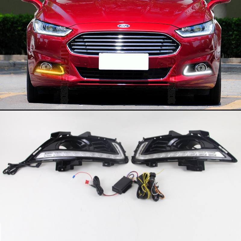 Sis Lambası Hole ile su geçirmez Ford Mondeo Fusion 2013 Araba Şekillendirme için Işık Koşu Araç Yanıp sönen Led DRL Gündüz