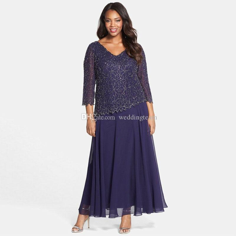 Modest Long Sleeves Lace Mother Of The Bride Dresses A Line V Neck Beaded Wedding Guest Dress Ankle Length Chiffon Evening Gowns