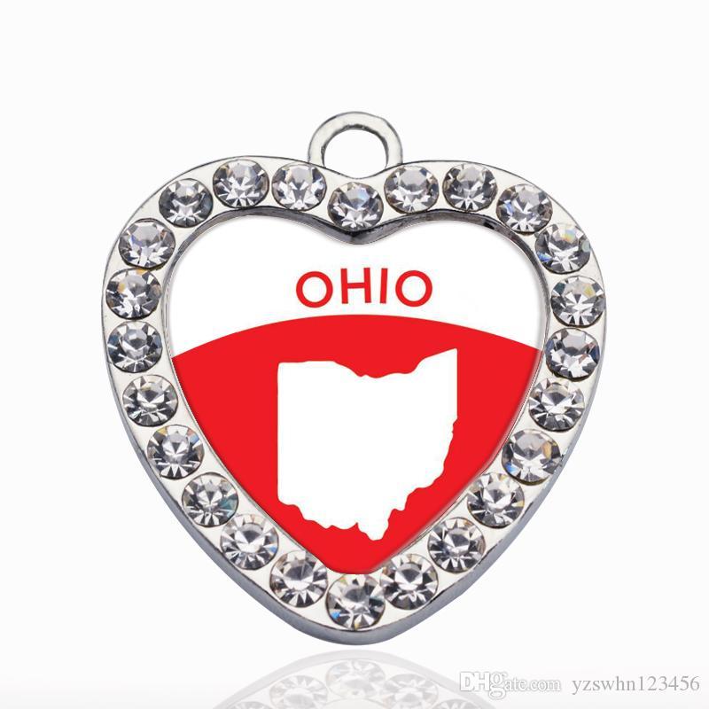 Esquema de Ohio Círculo Encanto Vintage Heart Charms Colgantes de Moda Charm Necklace Para Mujeres Hombres Joyería DIY