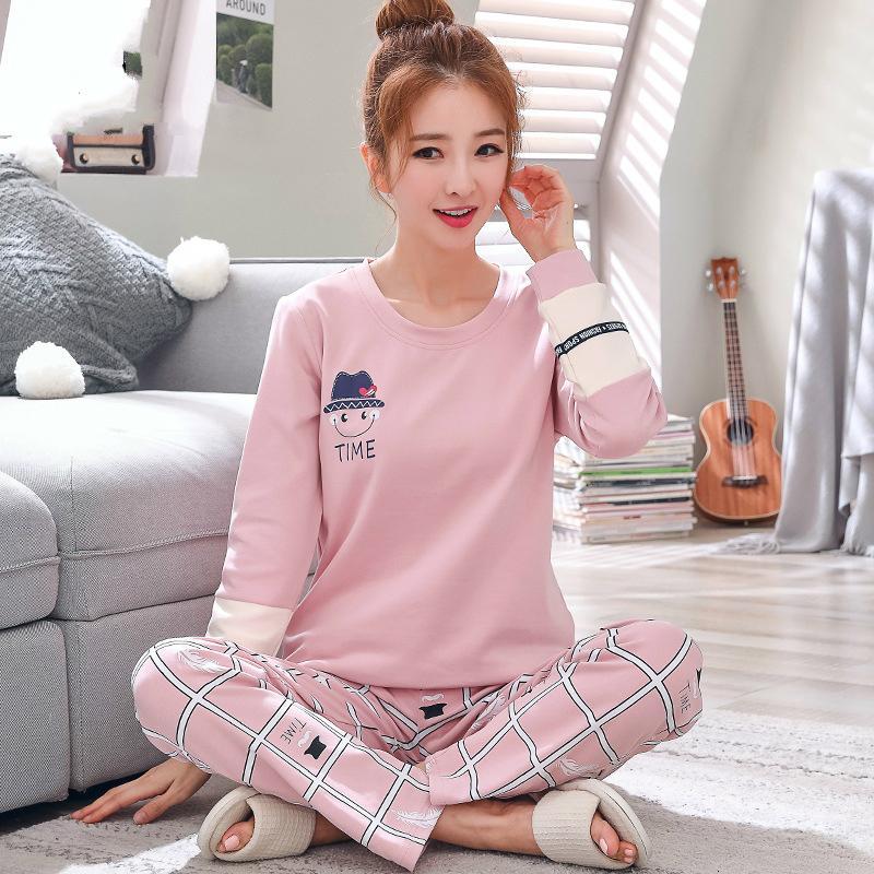 2019 Sleep Lounge Pijama Top de manga larga + pantalón largo Conjunto de pijama de mujer Pijamas de dibujos animados Ropa de dormir de algodón para mujeres M L Xl Xxl Xxxl Y19071901