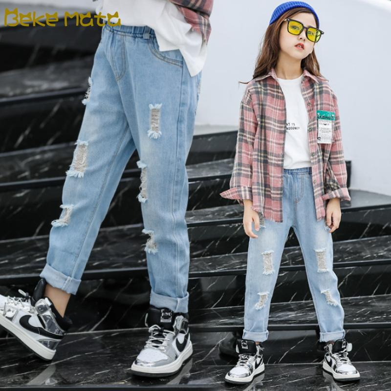 십대 소녀 스키니 어린이 여자 바지 의류 2020 여름 패션 아동 의류 청바지 3 11 세를 들어 찢어진 청바지