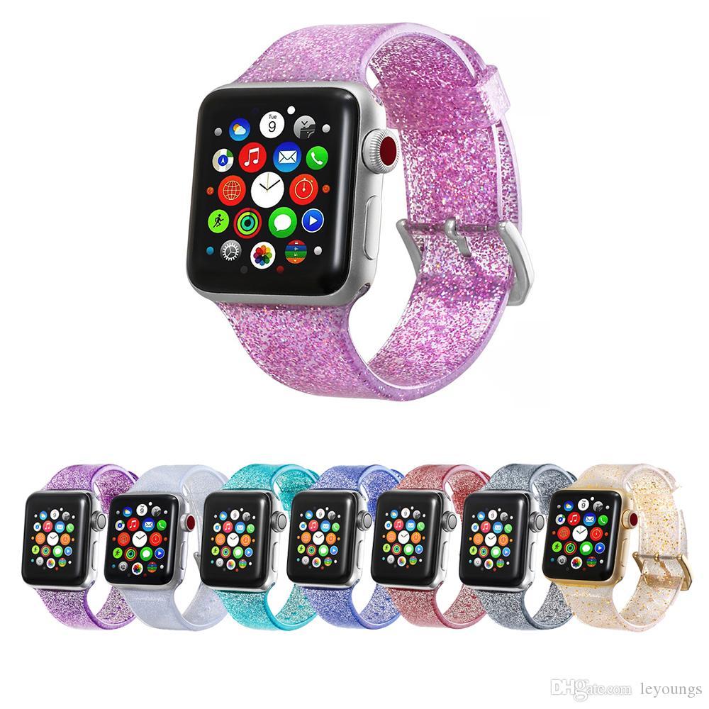 Transparente de silicona reloj pulsera banda de Apple Para 38mm 40mm 42mm 44mm Por iWatch Correa Serie 1 2 3 4 5