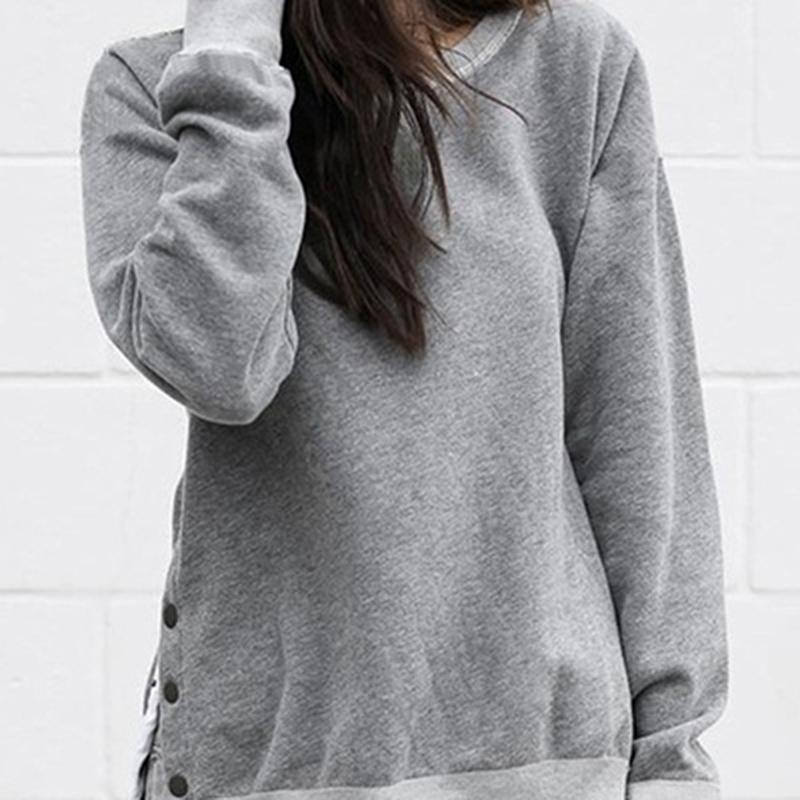 New Autumn Winter Women Tops Casual Ladies Solid Color Long Sleeve Sweatshirt Fashion Button O Neck Pullovers Sweatshirts