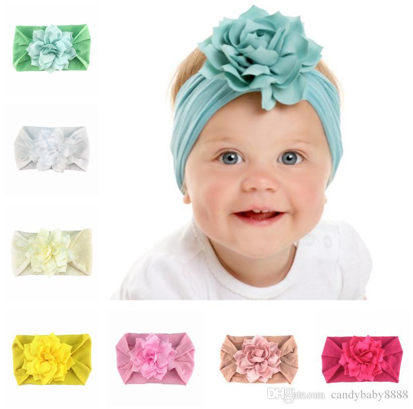 Bébé fille en mousseline de soie fleur Bandeaux enfants nylon élastique Floral Bandeaux enfants Accessoires cheveux enfants Turbon Coiffe 14 couleurs c1992