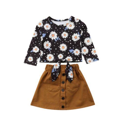 Baby Girl Moda Bebê roupa da menina algodão macio Sweet Children Crianças Long Sleeve flor da margarida Tops + Suede saia Outfit Roupas Set