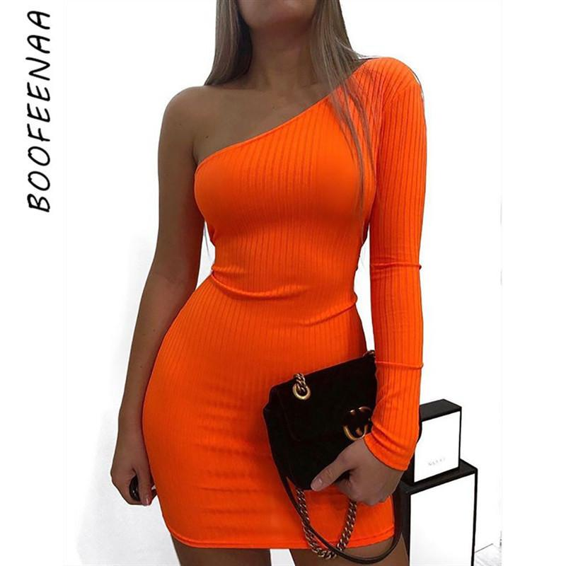 Boofeenaa Sexy One Shoulder Long Sleeve Bodycon Mini Dress Orange Green Neon Candy Color Ribbed Knitted Sweater Dresses C54-i85 MX190725