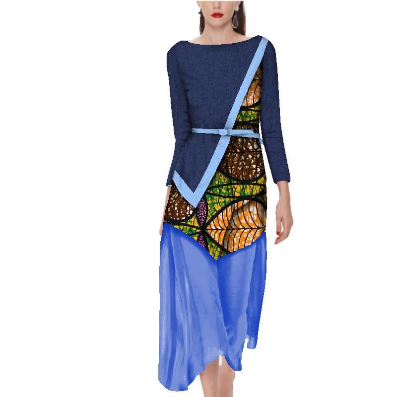 african bazin dresses for women Maxi Dresses Puls Size womens african designed clothing o-neck dashikis cotton dress 5xl WY2738