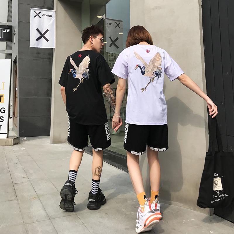 Grúas Impresión viento de la nueva de lujo de la camiseta para hombre de la camiseta del verano del diseñador de moda camiseta de los hombres de las mujeres Negro camisetas de manga corta blanca de China