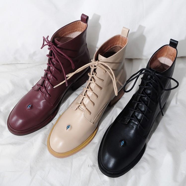 MLJUESE 2018 botines de cuero de vaca para mujer con cordones punta redonda tacones altos color negro otoño primavera botas de montar talla 33-43