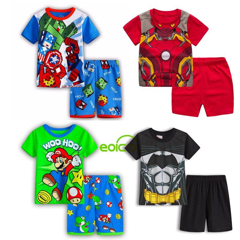 2020 NUEVOS niños de las muchachas de pijama de manga corta en SET lindo dormir de algodón animal de los niños dormir pijamas del bebé de la ropa 1-7Y