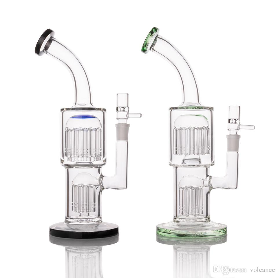 11 Inch percolator Dab oil rigs Glass Bong Water Pipe 14mm Female Hookahs