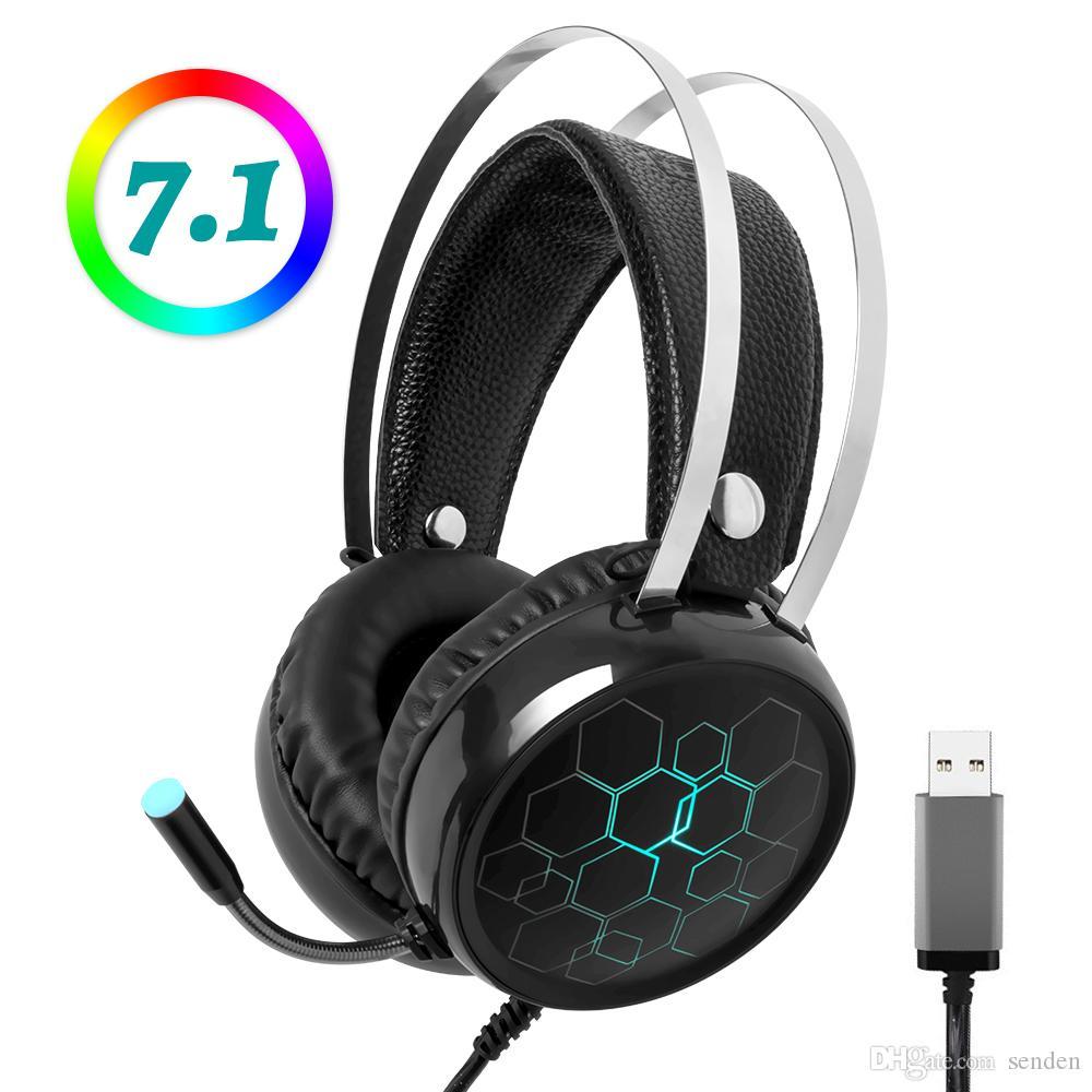 Professional 7.1 Gaming Headset Luminous ouvido com microfone Gamer Surround Sound USB com fios para a Xbox Uma PS4 PC Computer RGB Luz