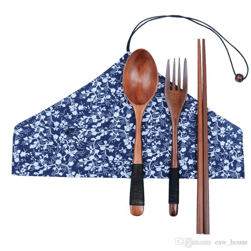 اليابانية مجموعة أدوات المائدة الخشبية الطبيعة البيئية الخشب شوكة ملعقة عيدان المحمولة عيدان خشبية سكين ملاعق سفر البدلة