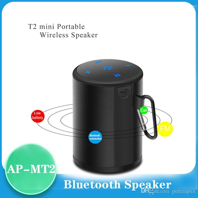 Mini T2 Bluetooth Speaker portatile impermeabile esterna senza fili del mini Colonna SoundBox stereo Bass Player di musica con FM TF
