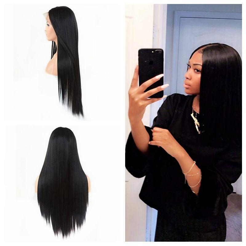 Preto Longo Hetero Synthetic Natural cabelo rendas frente Wigs Glueless completa Perucas da Mulher Negra cabelo calor fibra resistente