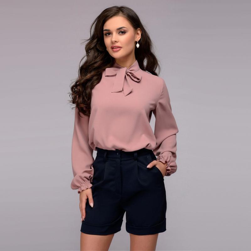 Kadınlar Casual Bow Bandaj Bluz Bayanlar O Boyun Uzun Kollu Tops Ve Bluz 2018 Yeni Moda Zarif Ofis Bayan Çalışma Gömlek