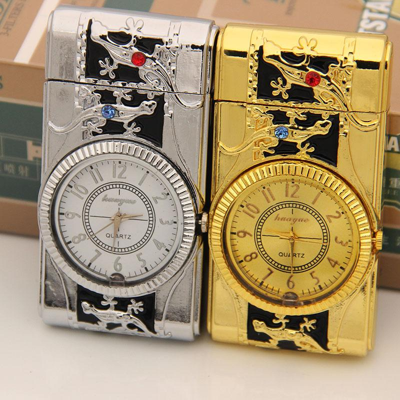 Reloj colorido de la inflación Lámpara Electrónica encendedor puede ir ultrafino cortavientos originalidad noctilucentes regalo Personalidad