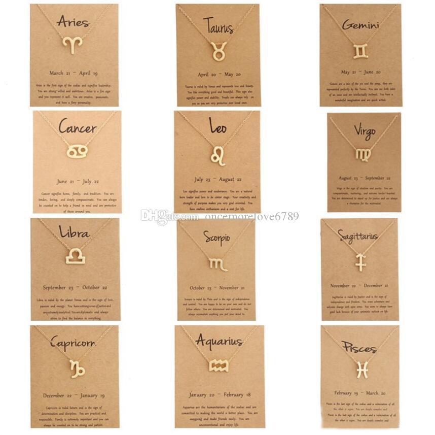 Kart Constellation Ile 12 Zodyak Kolye Burç Altın Kaplama Leo / Koç / Başak Kolye Zincir Gerdanlık Kolye Kadınlar Için