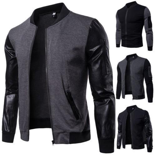 Jaqueta grossa Winter Fashion Patchwork casaco quente PU Winter Flight Leather Bomber Brasão de beisebol dos homens outwear