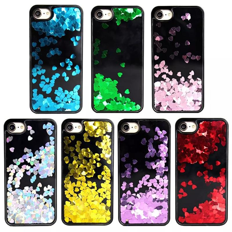 Love Heart Stars Dynamic Liquid Glitter Sand Quicksand Star Phone Hard Back Cover Case For iPhone 6 6S Plus 6Plus 7 7 Plus