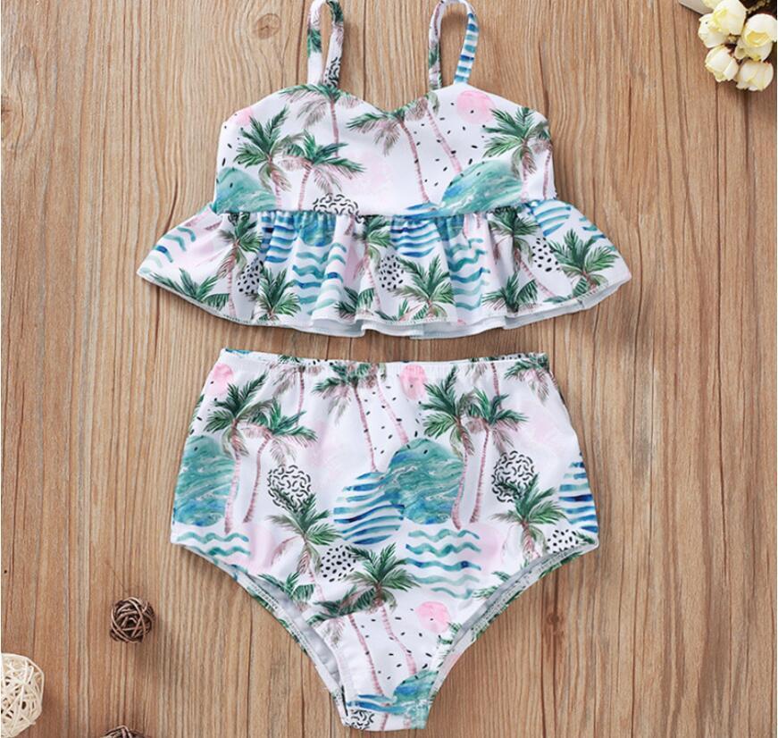 Muchacha de la playa liguero sin mangas de la palma de coco Imprimir juego de nadada Baby Set V-cuello de la impresión floral traje de baño de dos piezas traje de verano para niños Con