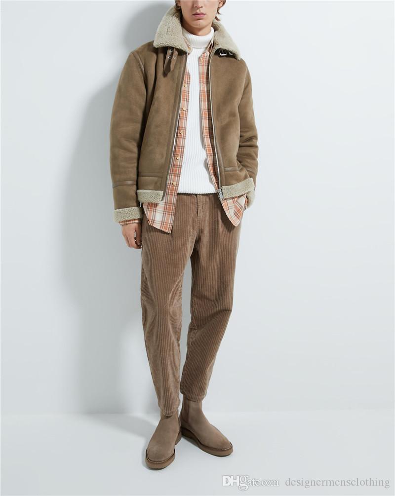 Designer Mens Suede Fashion vestes à manches longues double face épais cou d'hiver Lapel Hommes Manteaux Casual Male Apparel